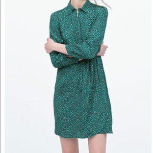 Zara retro green print dress